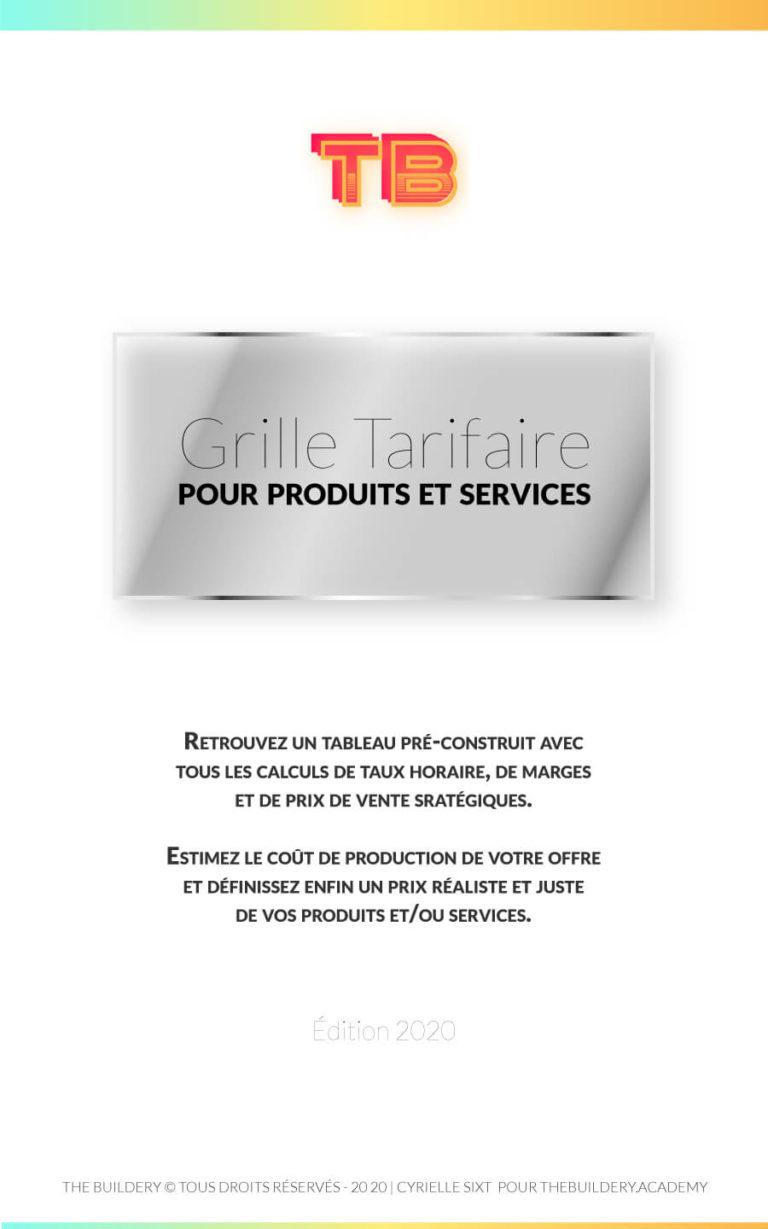 Tableau préparé avec tous les calculs nécessaires à l'élaboration d'une Grille Tarifaire avec taux de marge, coût de production et prix de vente conseillé. Disponible à 2€